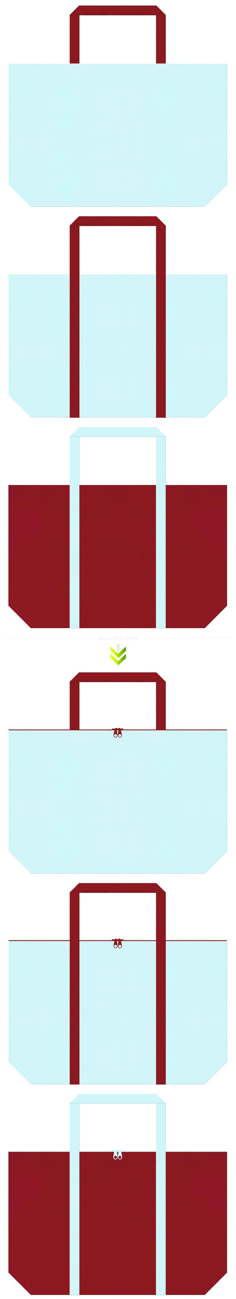 法被・夏祭り・夏浴衣のショッピングバッグにお奨めの不織布バッグデザイン:水色とエンジ色のコーデ