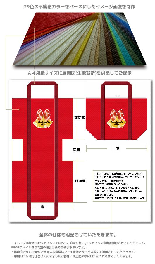 不織布バッグのデザイン内容。生地裁断・配色・印刷の位置が一目でわかる展開図付きです。