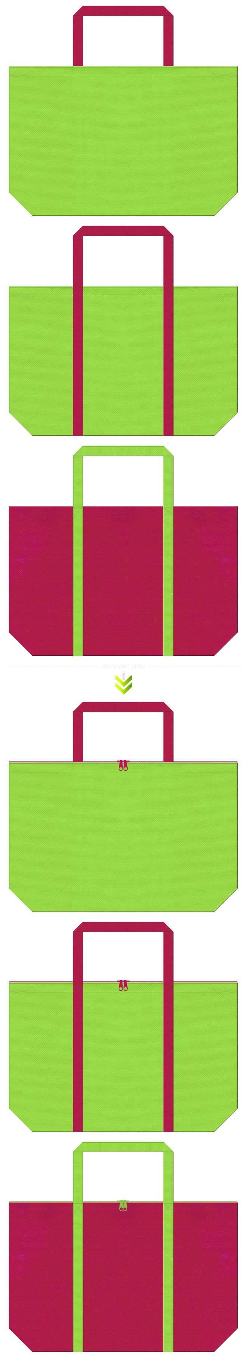 黄緑色と濃いピンク色の不織布エコバッグのデザイン。南国の鳥・フルーツカクテル・トロピカルのイメージにお奨めの配色です。