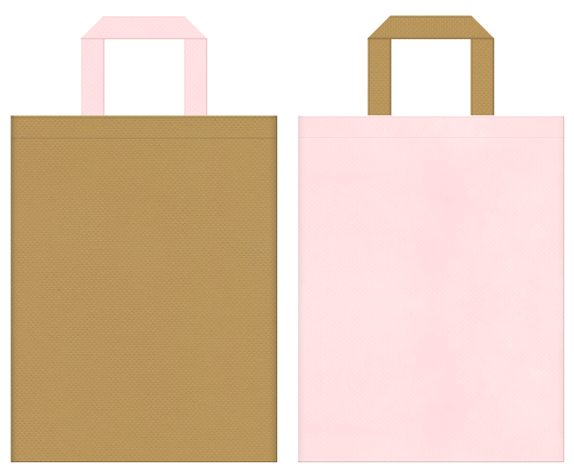 ペットショップ・ペットサロン・アニマルケア・ペット用品・ペットイベントにお奨めの不織布バッグデザイン:金黄土色と桜色のコーディネート