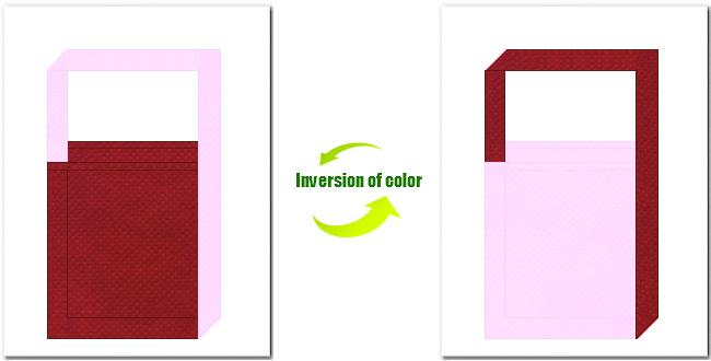 エンジ色と明ピンク色の不織布ショルダーバッグ
