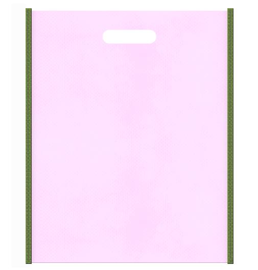 和風柄にお奨めの不織布小判抜き袋デザイン:メインカラー明るめのピンク色とサブカラー草色