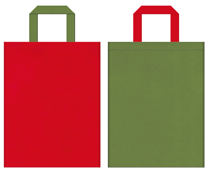 茶会・和風庭園・野点傘・和風催事にお奨めの不織布バッグデザイン:紅色と草色のコーディネート