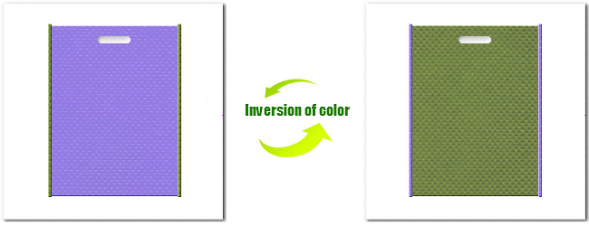 不織布小判抜き袋:No.32ミディアムパープルとNo.34グラスグリーンの組み合わせ