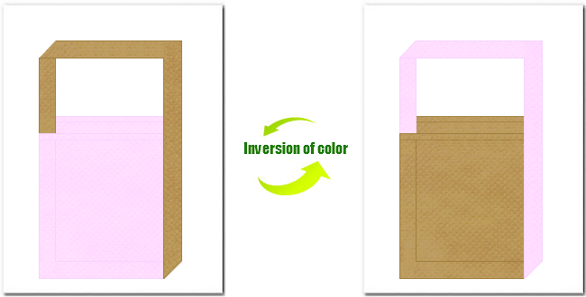 明ピンク色と金黄土色の不織布ショルダーバッグのデザイン