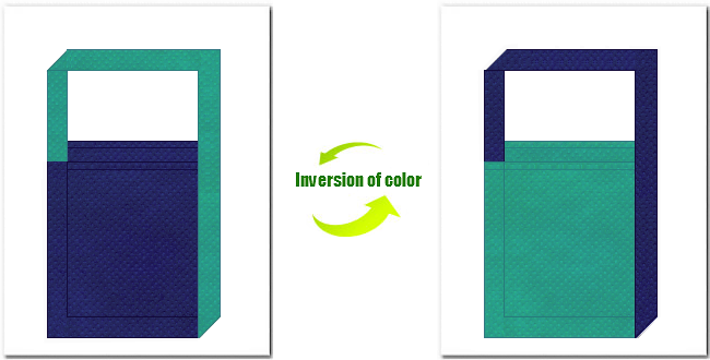 明紺色と青緑色の不織布ショルダーバッグのデザイン
