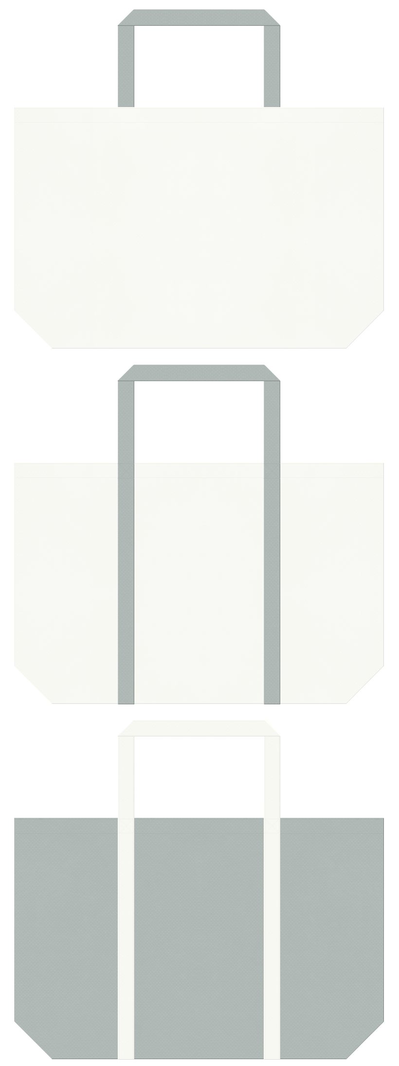 オフホワイト色とグレー色の不織布ショッピングバッグのデザイン。事務用品・設計・什器にお奨めの配色です。