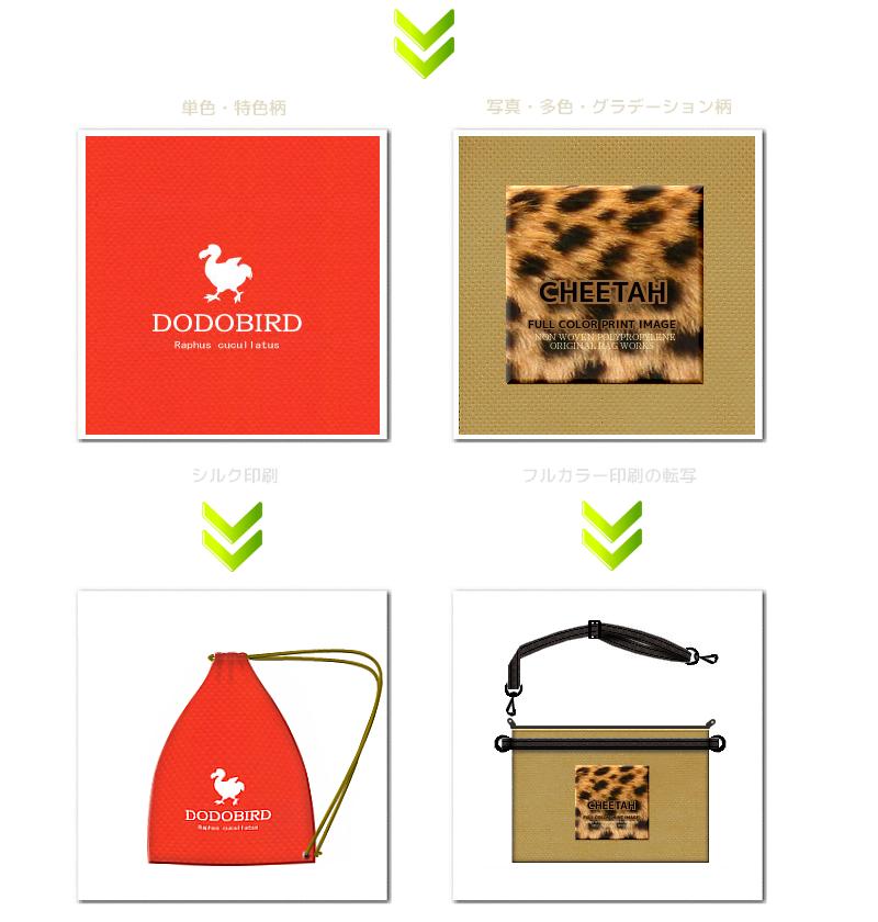 不織布ショルダーバッグの印刷:1.シルク印刷と、2.フルカラー転写の2種類からお選びいただけます。