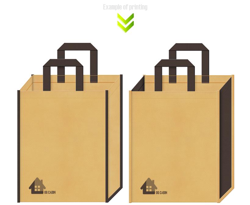 ログハウス・住宅展示場の不織布バッグデザイン例