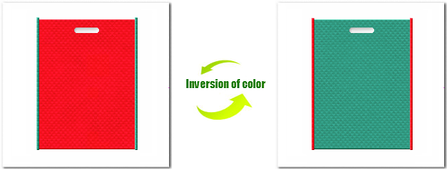 不織布小判抜き袋:No.6カーマインレッドとNo.31ライムグリーンの組み合わせ