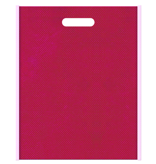 Girlyな不織布小判抜き袋のデザイン。メインカラー明るめのピンク色とサブカラー濃いピンク色の色反転