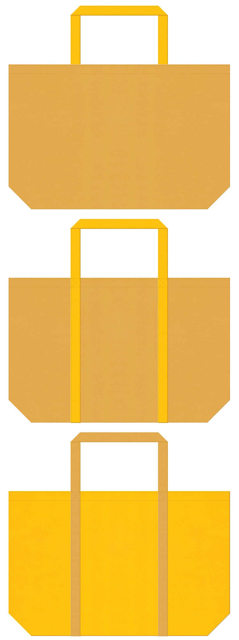 お宝・黄金・ピラミッド・ラクダ・砂漠・砂丘・麦・ビール・食用油・マスタード・バター・マロンケーキ・スイーツ・はちみつ・栗・和菓子のショッピングバッグにお奨めの不織布バッグデザイン:黄土色と黄色のコーデ