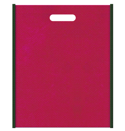 不織布バッグ小判抜き メインカラー濃緑色とサブカラー濃いピンク色の色反転