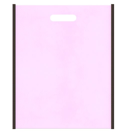 Girlyな不織布小判抜き袋のデザイン。メインカラー明るめのピンク色とサブカラーこげ茶色