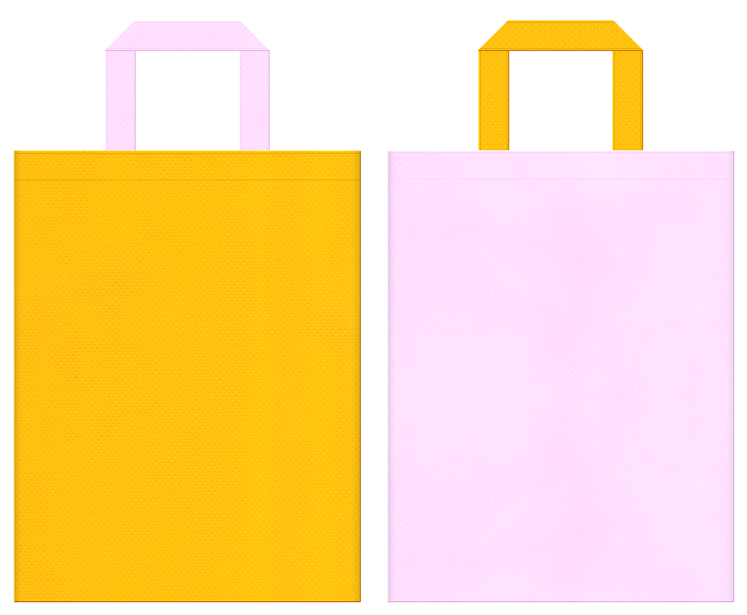 不織布バッグの印刷ロゴ背景レイヤー用デザイン:黄色と明るいピンク色のコーディネート