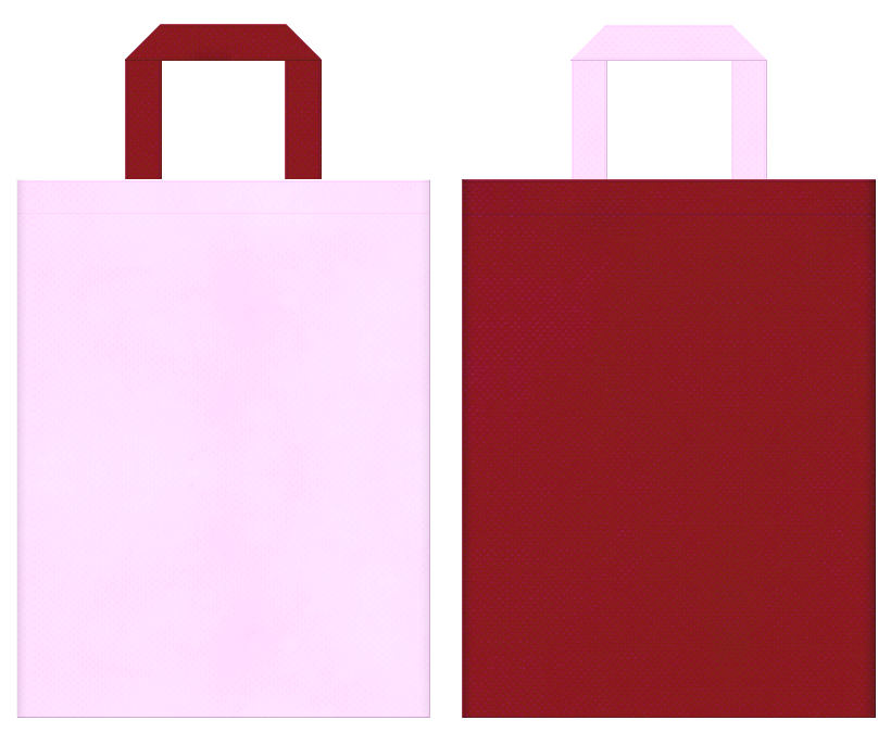 学校・学園・オープンキャンパス・レッスンバッグ・着物・振袖・成人式・ひな祭り・お正月・写真館・和風催事にお奨めの不織布バッグデザイン:パステルピンク色とエンジ色のコーディネート