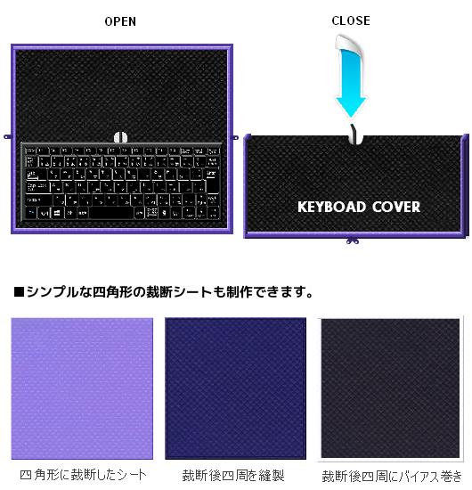 ほこり除け不織布カバーの仕様例:不織布キーボードカバーと裁断シート