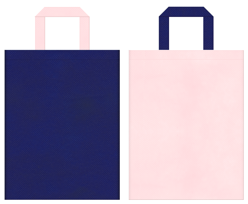 不織布バッグの印刷ロゴ背景レイヤー用デザイン:明るい紺色と桜色のコーディネート:浴衣のイメージで夏のイベントにお奨めの配色です。