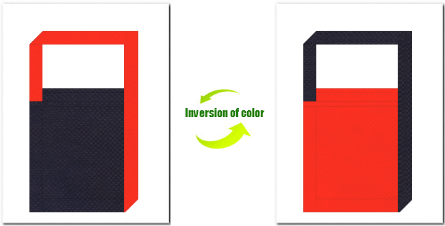濃紺色とオレンジ色の不織布ショルダーバッグのデザイン:インディゴデニム・カジュアルなイメージにお奨めの配色です。