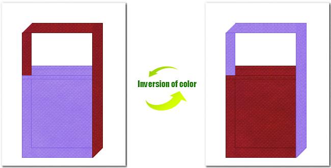 薄紫色とエンジ色の不織布ショルダーバッグのデザイン