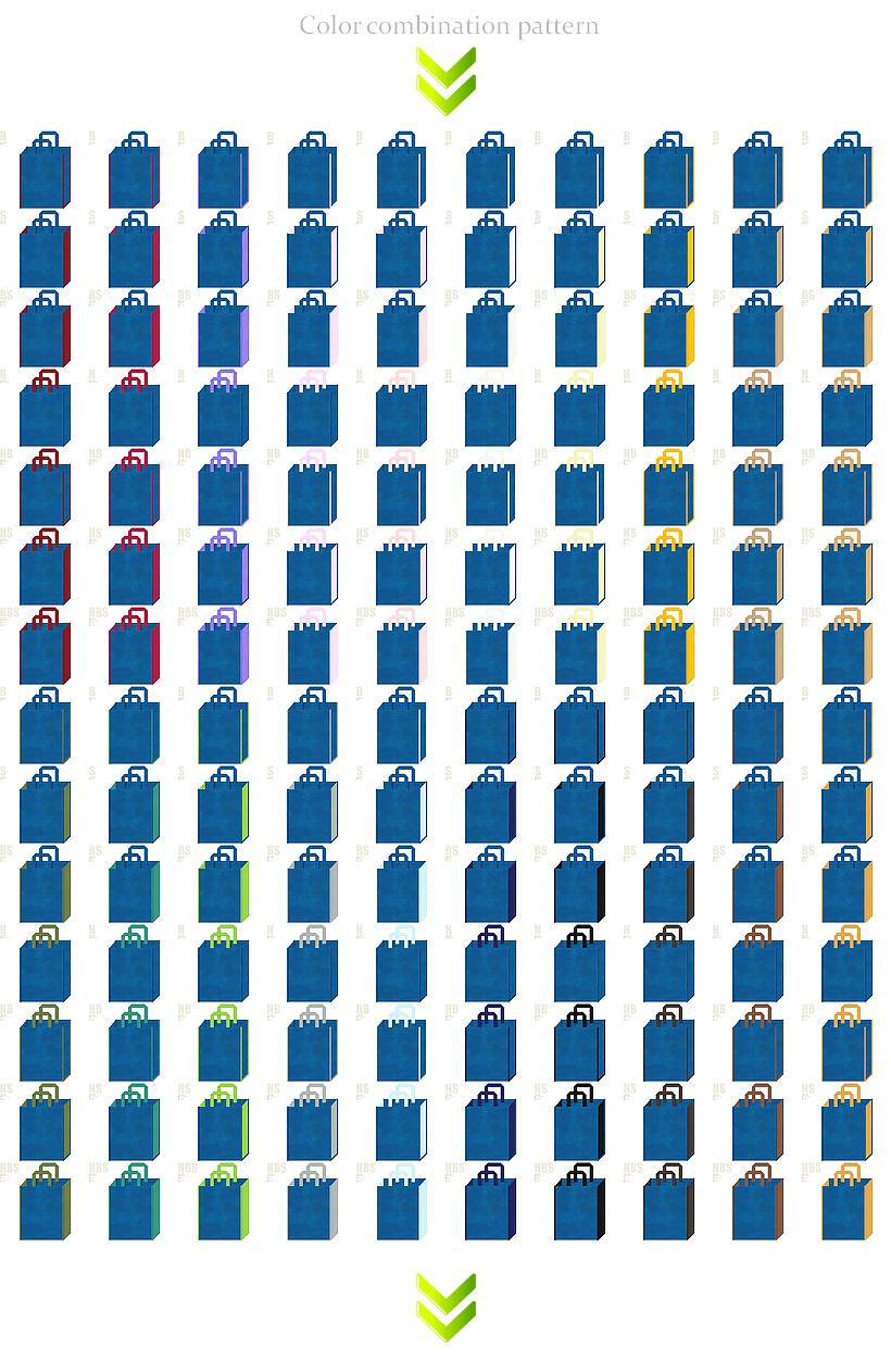 ロボット・LED・人工知能・ホビー・セキュリティの展示会用バッグにお奨めの不織布バッグデザイン:青色不織布バッグの配色パターン