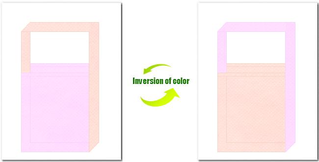 明ピンク色と桜色の不織布ショルダーバッグのデザイン