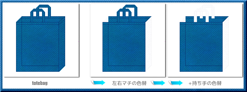 不織布トートバッグ:不織布カラーNo.28スポルトブルー+28色のコーデ