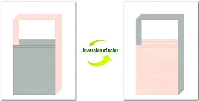 グレー色と桜色の不織布ショルダーバッグのデザイン