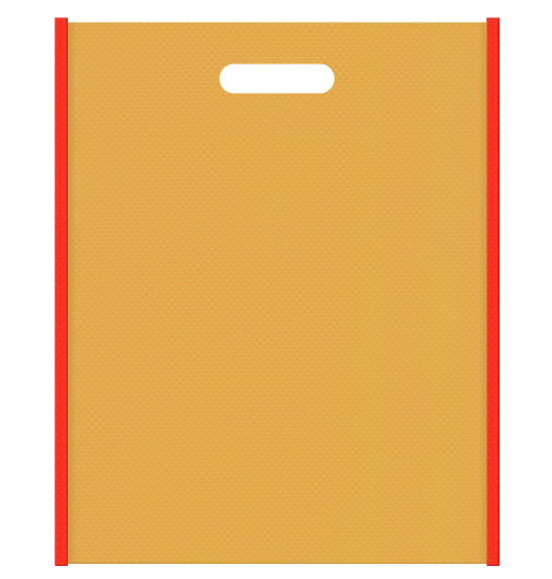 レシピセミナー資料配布用のバッグにお奨めの不織布小判抜き袋デザイン:メインカラー黄土色、サブカラーオレンジ色。オニオンスープ風の配色です。