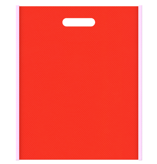 不織布小判抜き袋 メインカラーオレンジ色とサブカラー明るめのピンク色