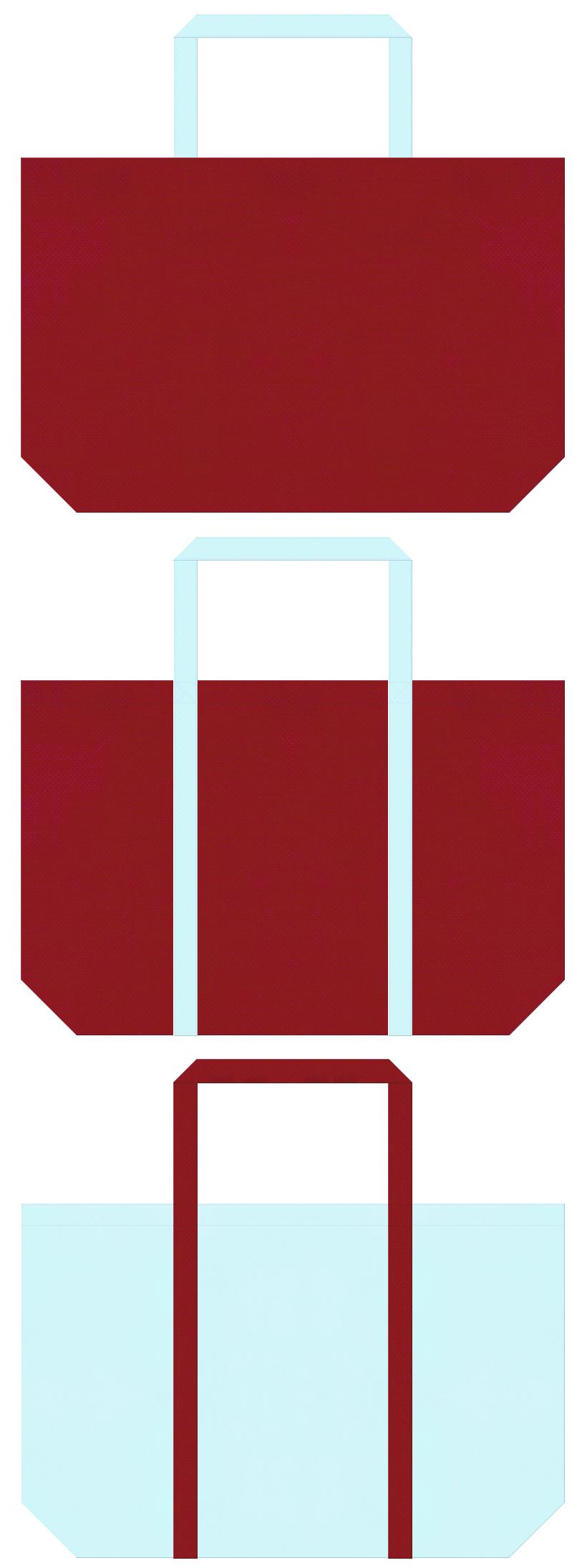 夏浴衣・風鈴・金魚鉢・和雑貨にお奨め:エンジ色と水色の不織布ショッピングバッグのデザイン