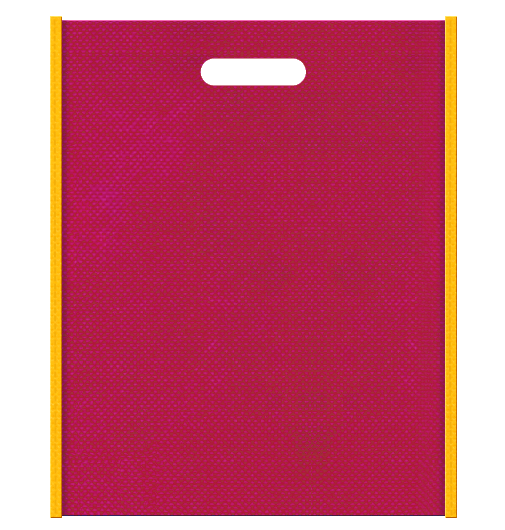 不織布小判抜き袋 メインカラー濃いピンク色とサブカラー黄色