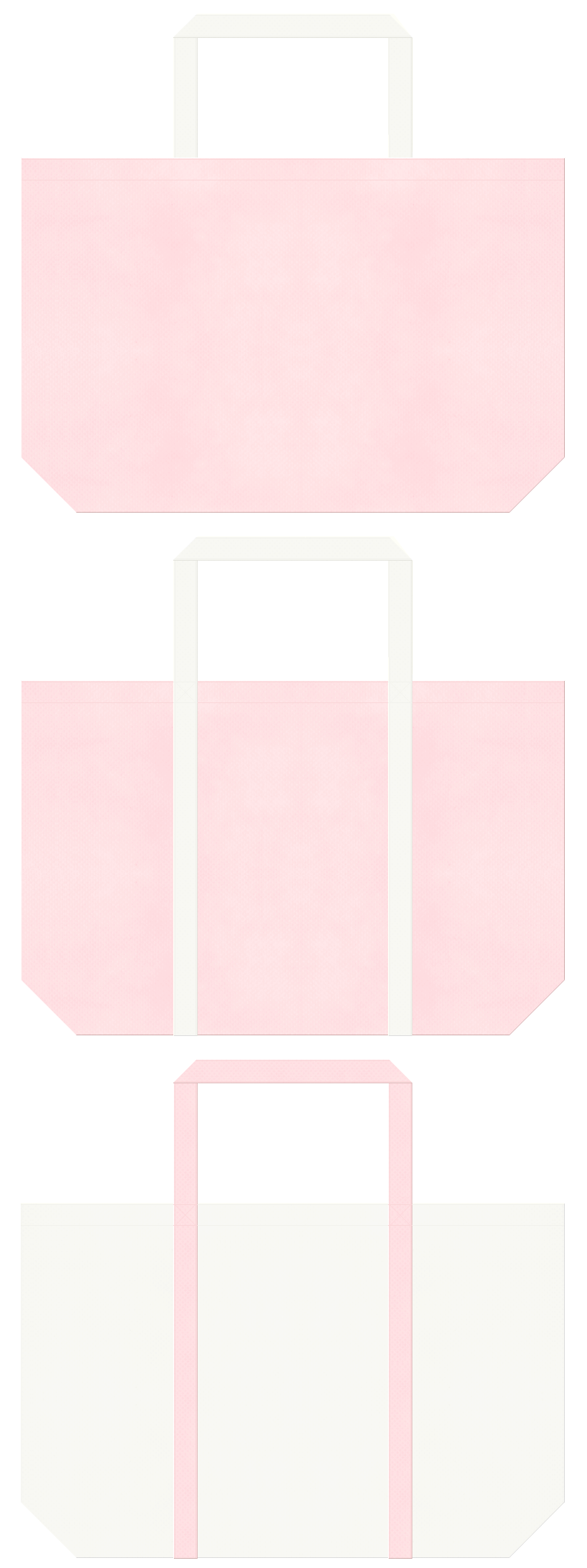 桜色とオフホワイト色の不織布バッグデザイン。医療・介護ユニフォームのショッピングバッグにお奨めです。
