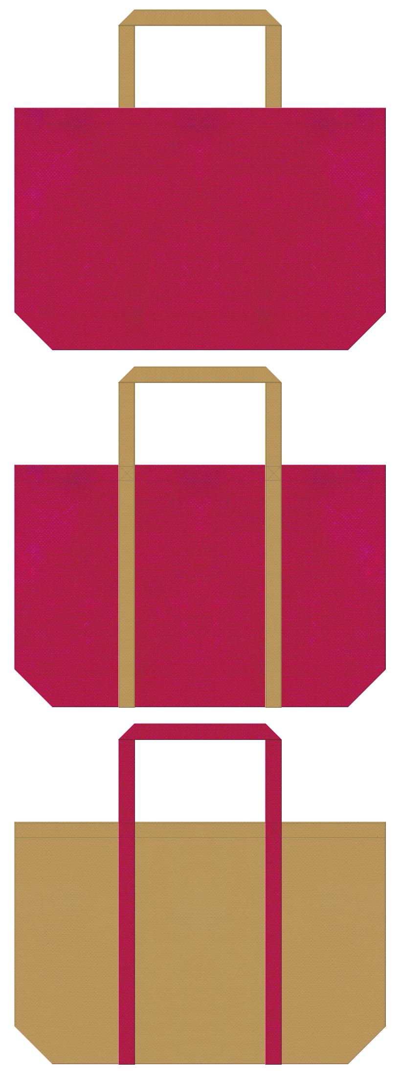 ハワイアン・南国・トロピカル・トラベルバッグ・リゾート・トラベルバッグにお奨めの不織布バッグデザイン:濃いピンク色と金黄土色のコーデ
