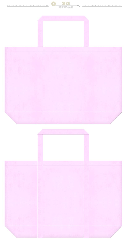 明るいピンク色の不織布ショッピングバッグ:水玉模様・バタフライ・フラミンゴ等のガーリーデザインにお奨めです。