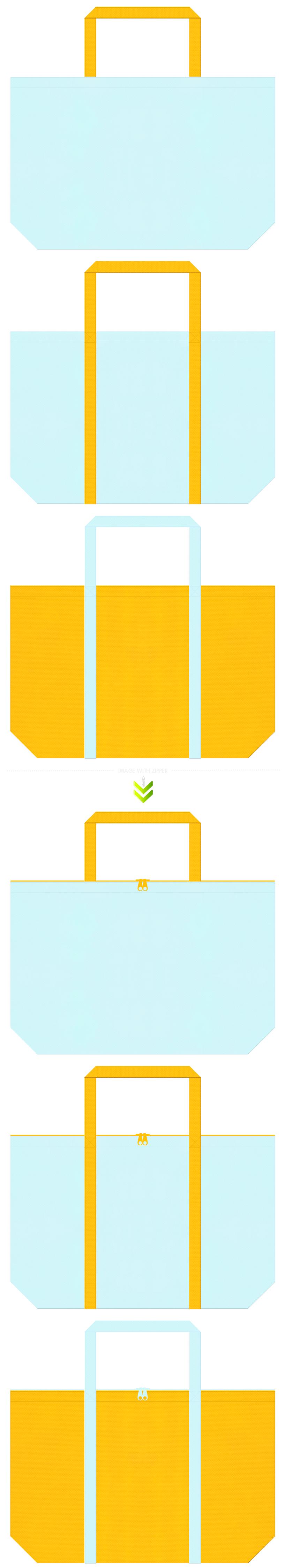 水色と黄色の不織布エコバッグのデザイン。熱帯魚・トロピカルなイメージにお奨めです。