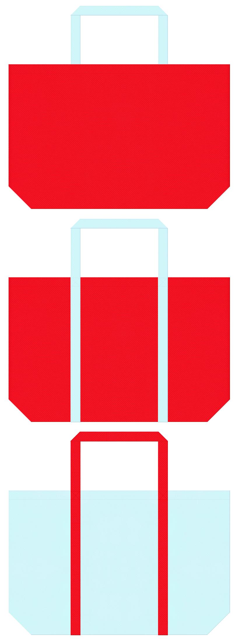 赤色と水色の不織布ショッピングバッグデザイン。