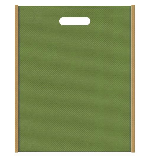 時代劇風の不織布バッグ小判抜き配色デザイン:メインカラー草色とサブカラー金色系黄土色