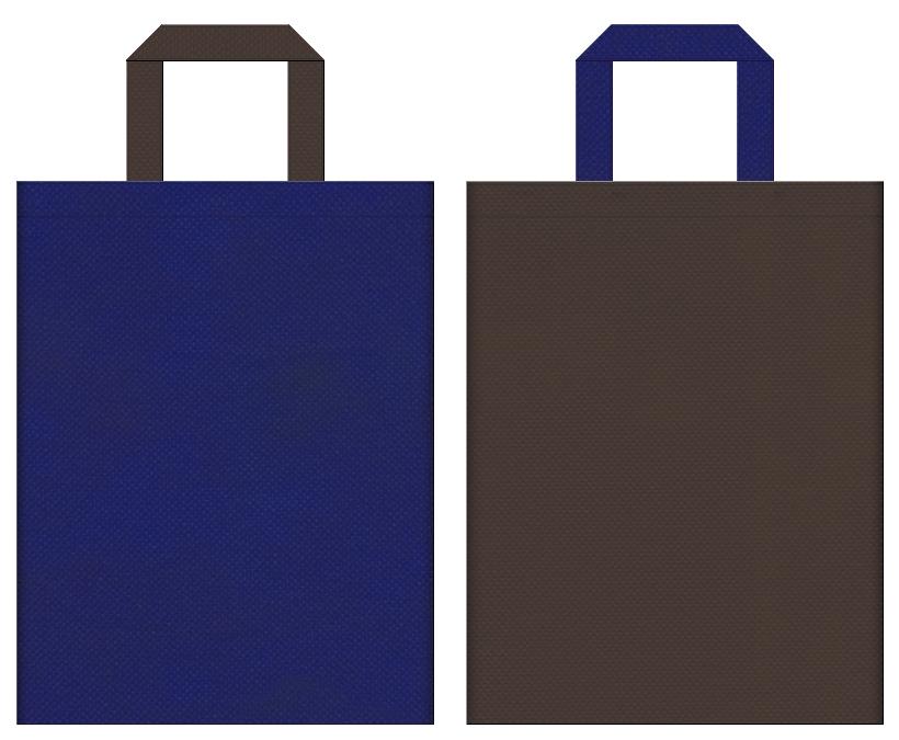廃屋・古城・地下牢・迷路・ホラー・ミステリー・ACT・STG・FTG・ゲームのイベントにお奨めの不織布バッグデザイン:明るい紺色とこげ茶色のコーディネート