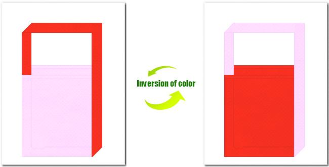 明ピンク色とオレンジ色の不織布ショルダーバッグのデザイン