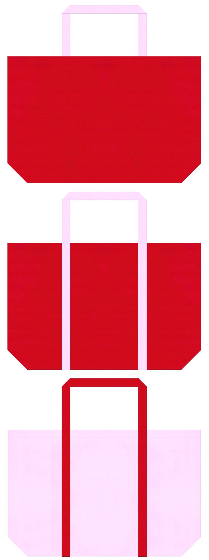 不織布ショッピングバッグのデザイン:紅色と明るいピンク色のコーデ。ひなまつり商品のショッピングバッグにお奨めの配色です。