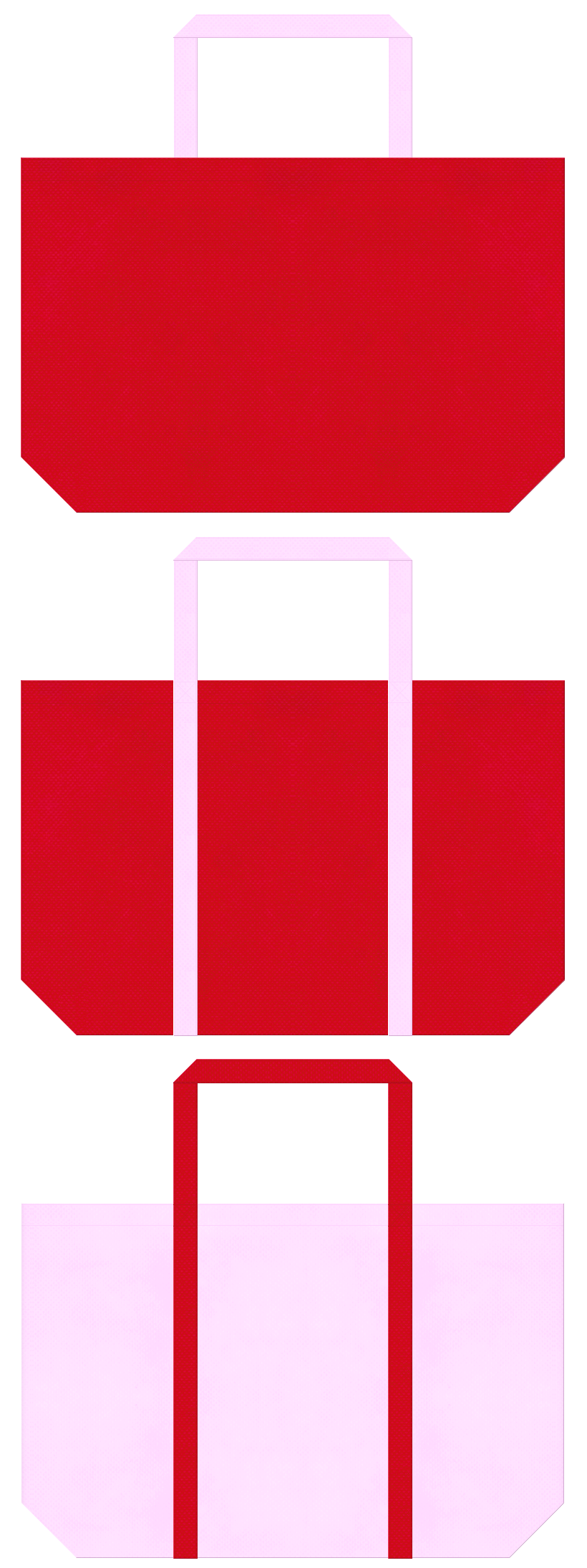 いちご・バレンタイン・ひな祭り・カーネーション・母の日・和風催事・お正月・福袋にお奨めの不織布バッグデザイン:紅色と明るいピンク色のコーデ