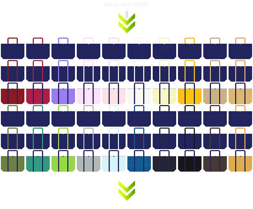 浴衣・マリングッズ・スポーツ用品のショッピングバッグ・ゲーム・電気・通信の展示会用バッグ・ランドリーバッグにお奨めの、ファスナー付き不織布バッグのデザイン:紺色のコーデ84例
