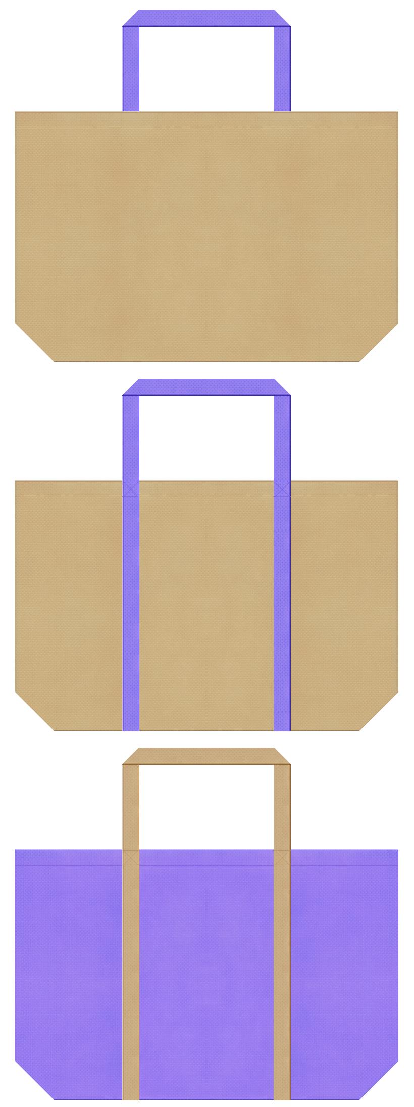 カーキ色と薄紫色の不織布ショッピングバッグデザイン。