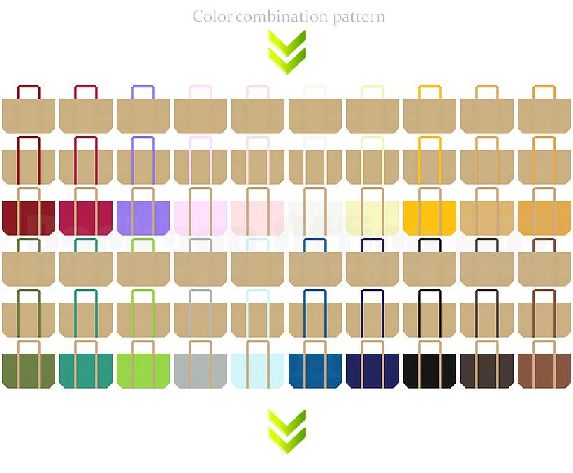 ショッピングバッグのデザイン:カーキ色の不織布バッグのコーデ
