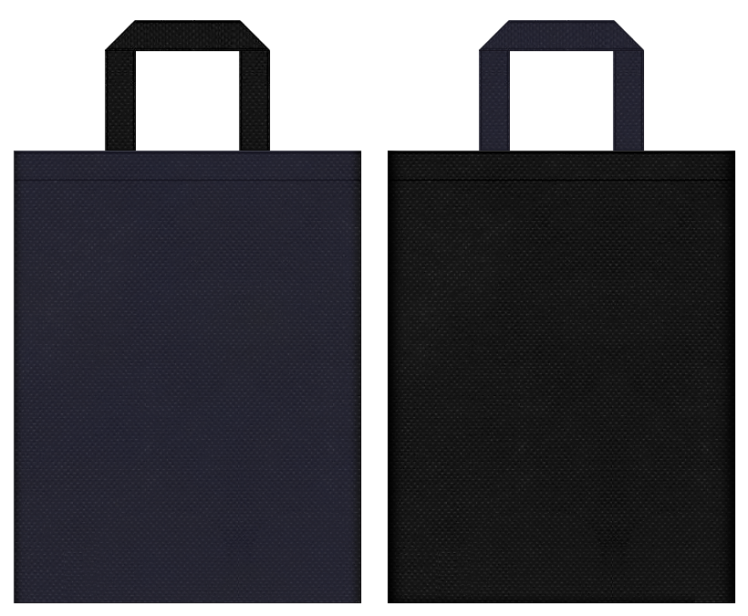 不織布バッグの印刷ロゴ背景レイヤー用デザイン:濃紺色と黒色のコーディネート:メンズビジネス用品の販促イベント・トラベルバッグにお奨めです。
