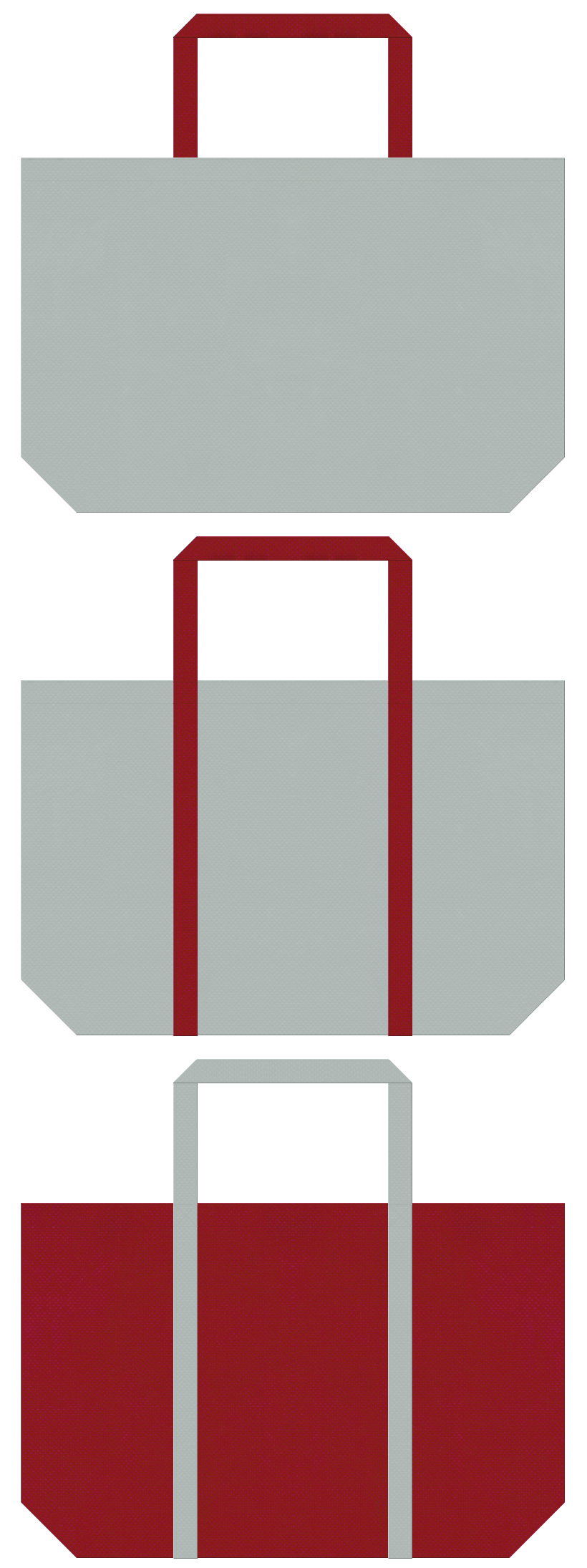 グレー色とエンジ色の不織布エコバッグのデザイン。