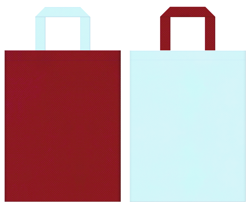不織布バッグのデザイン:エンジ色と水色のコーディネート