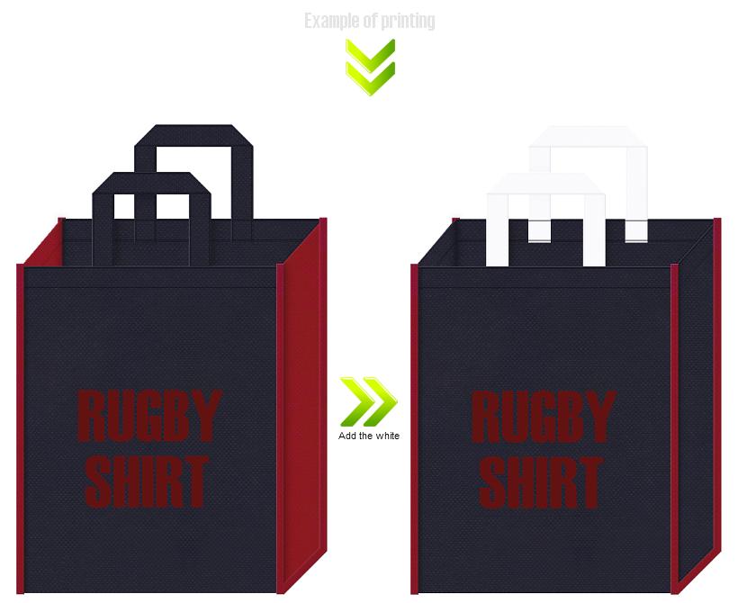 ラガーシャツ販促用の不織布バッグデザイン例