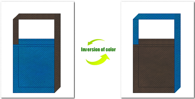 青色とこげ茶色の不織布ショルダーバッグのデザイン